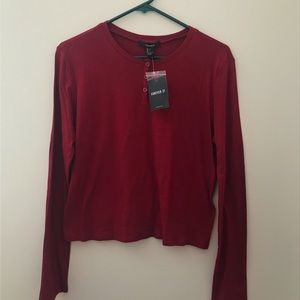 NWT Forever 21 Red Henley top